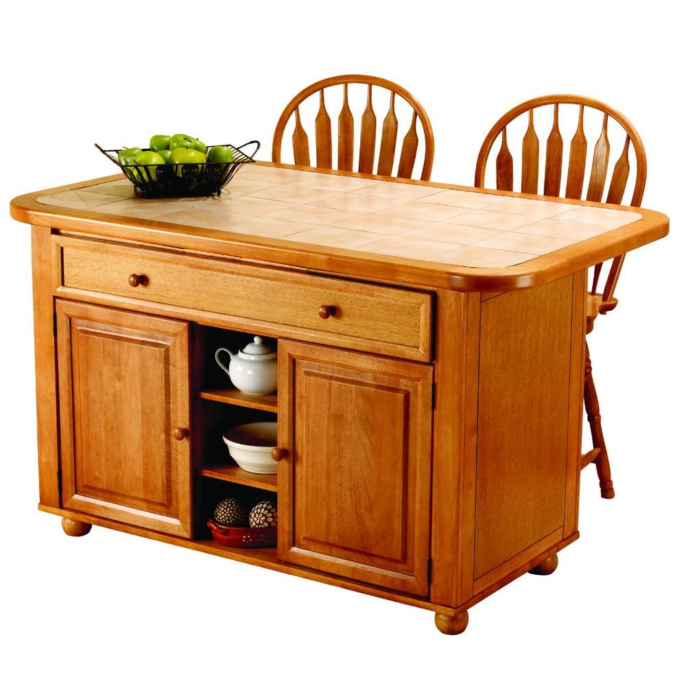 3 Piece Light Oak Kitchen Island