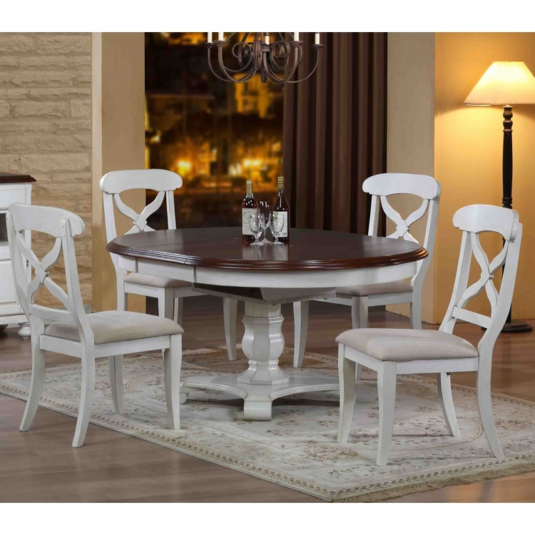 Sunset Trading - 5 Piece Andrews Butterfly Leaf Dining Set in Antique White - DLU-ADW4866-C12-AW5PC