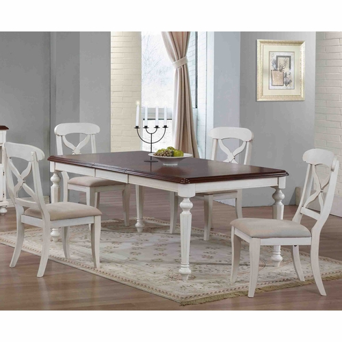 Sunset Trading - 5 Piece Andrews Butterfly Leaf Dining Table Set in Antique White  - DLU-ADW4276-C12-AW5PC