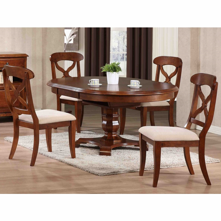 Sunset Trading - 5 Piece Andrews Butterfly Leaf Dining Table Set in Chestnut - DLU-ADW4866-C12-CT5PC