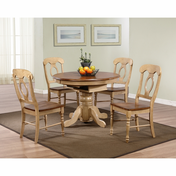 Sunset Trading - 5 Piece Brook Round or Oval Butterfly Leaf Dining Set with Napoleon Chairs  - DLU-BR4260-C50-PW5PC