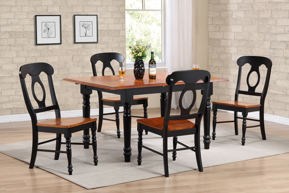 Butterfly Leaf Dining Table Set With Napoleon Chairs