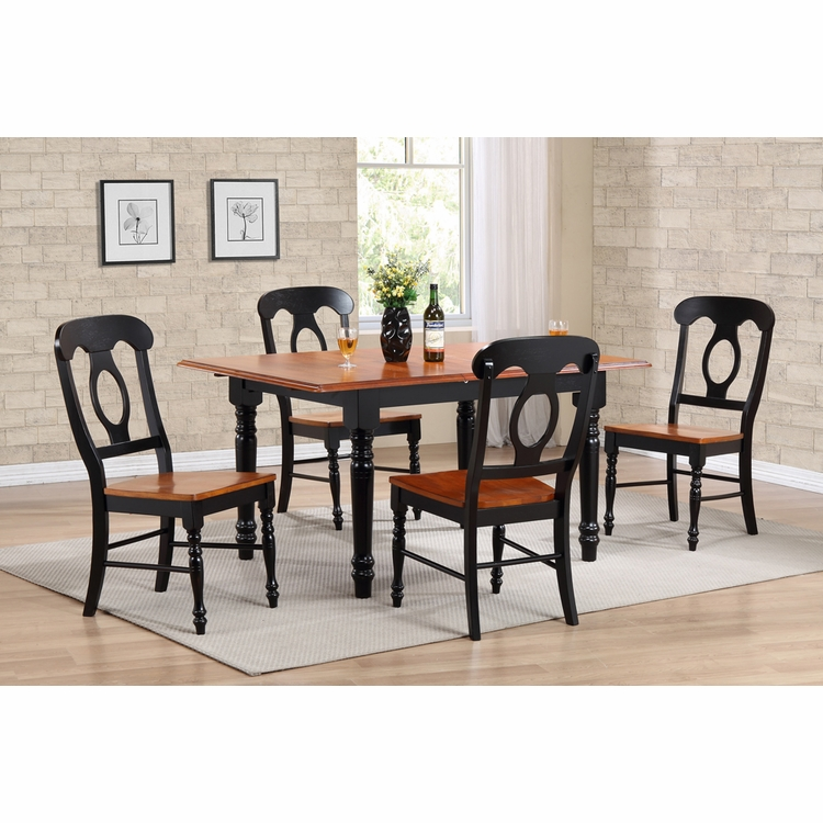 Sunset Trading - 5 Piece Butterfly Leaf Dining Table Set with Napoleon Chairs - DLU-TLB3660-C50-BCH5PC