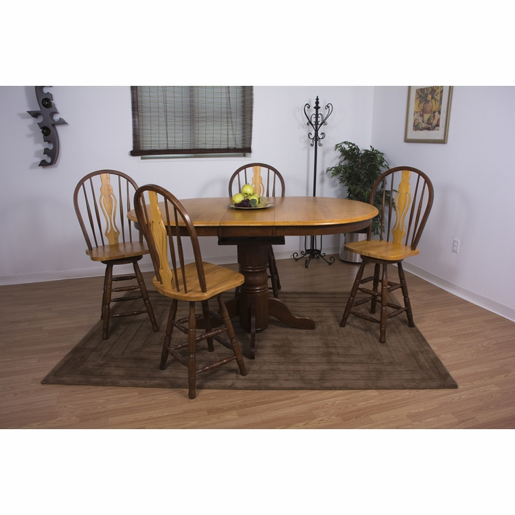 Sunset Trading - 5 Piece Butterfly Leaf Pub Table Set with Keyhole Barstools - DLU-TBX4266CB-B124-NLO5PC