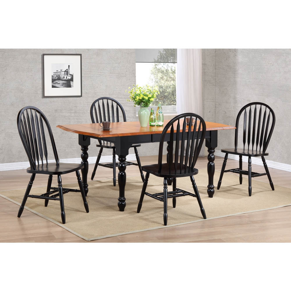 Silver Dining Table And Chairs, Sunset Trading 5 Piece Drop Leaf Extension Dining Table Set With Arrowback Chairs Dlu Tdx3472 820 Ab5pc