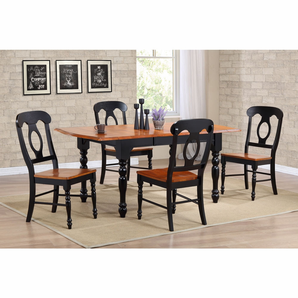 Silver Dining Table And Chairs, Sunset Trading 5 Piece Drop Leaf Extension Dining Table Set With Napoleon Chairs Dlu Tdx3472 C50 Bch5pc