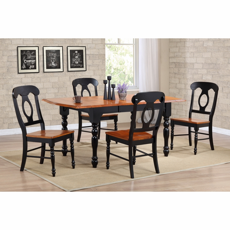 Sunset Trading - 5 Piece Drop Leaf Extension Dining Table Set with Napoleon Chairs - DLU-TDX3472-C50-BCH5PC