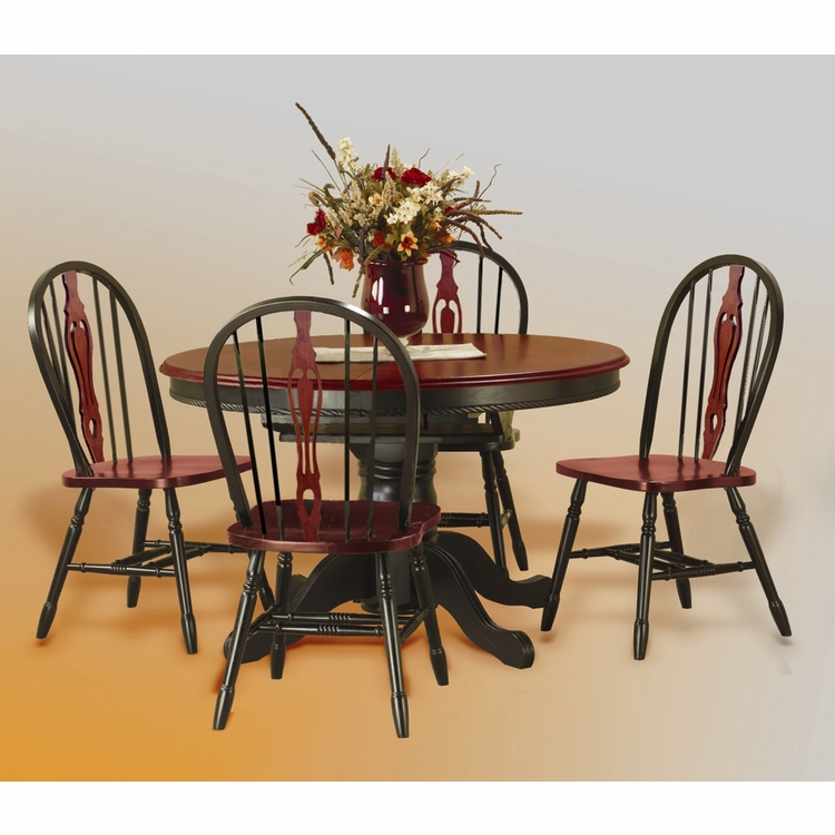 Sunset Trading - 5 Piece Pedestal Butterfly Leaf Dining Set with Keyhole Chairs  - DLU-TBX4866-124S-BCH5PC