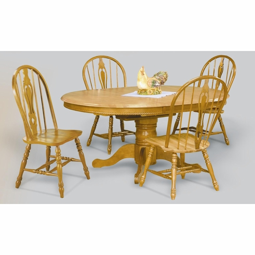 Sunset Trading - 5 Piece Pedestal Butterfly Leaf Dining Set with Keyhole Chairs - DLU-TBX4866-124S-LO5PC