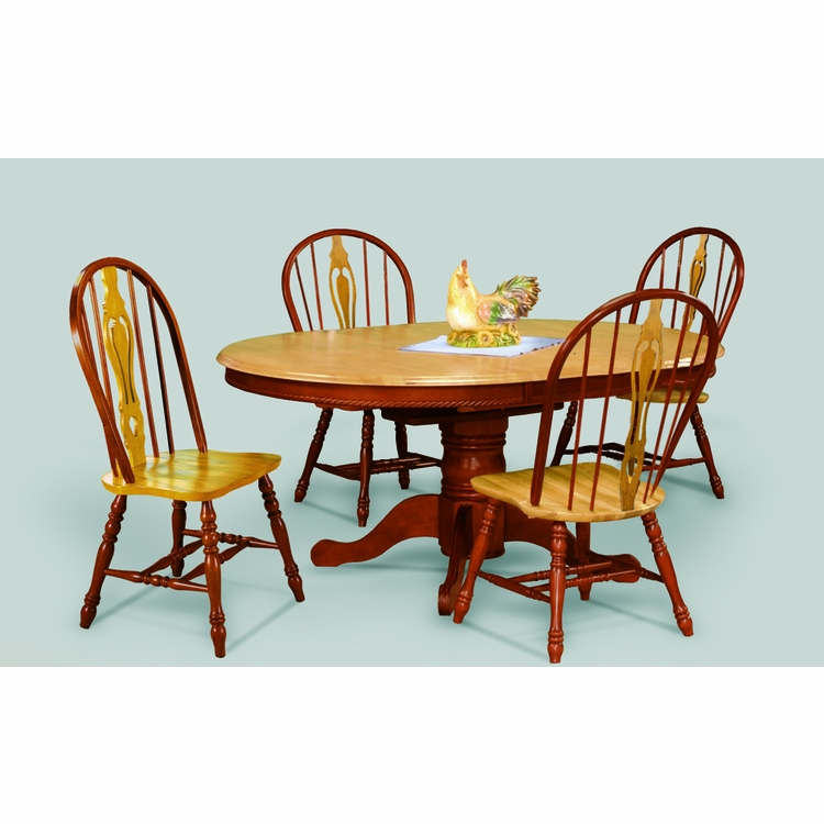 Sunset Trading - 5 Piece Pedestal Butterfly Leaf Dining Set with Keyhole Chairs  - DLU-TBX4866-124S-NLO5PC