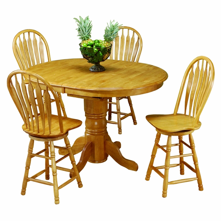 Sunset Trading - 5 Piece Pedestal Butterfly Leaf Pub Table Set with Swivel Barstools - DLU-TBX4266CB-B24-LO5PC
