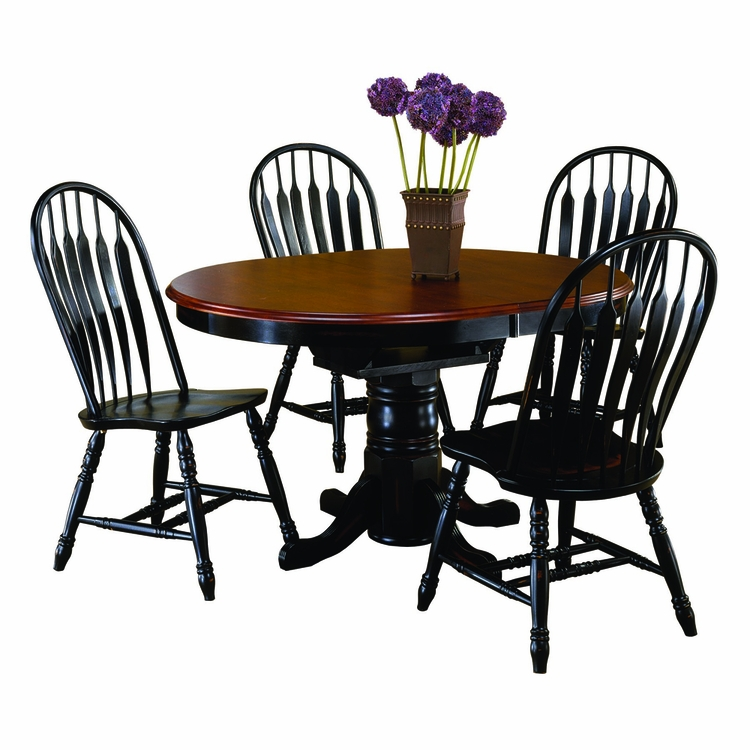Sunset Trading - 5 Piece Pedestal Dining Set with Comfort Back Chairs - DLU-TBX4266-4130-AB5PC
