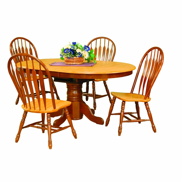 Sunset Trading - 5 Piece Pedestal Dining Set with Comfort Back Chairs  - DLU-TBX4266-4130-NLO5PC