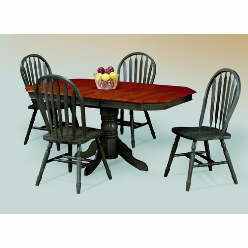 Sunset Trading - 5 Piece Pedestal Extension Dining Set with Antique Black Arrowback Chairs - DLU-TCP3660-820-AB5PC