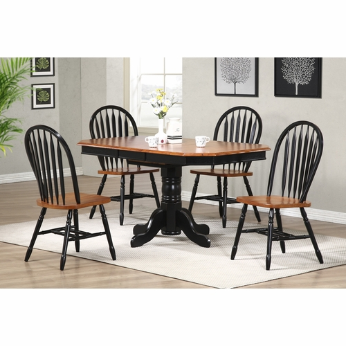 Sunset Trading - 5 Piece Pedestal Extension Dining Set with Arrowback Chairs - DLU-TCP3660-820-BCH5PC