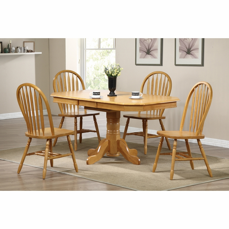 Sunset Trading - 5 Piece Pedestal Extension Dining Set with Arrowback Chairs - DLU-TCP3660-820-LO5PC