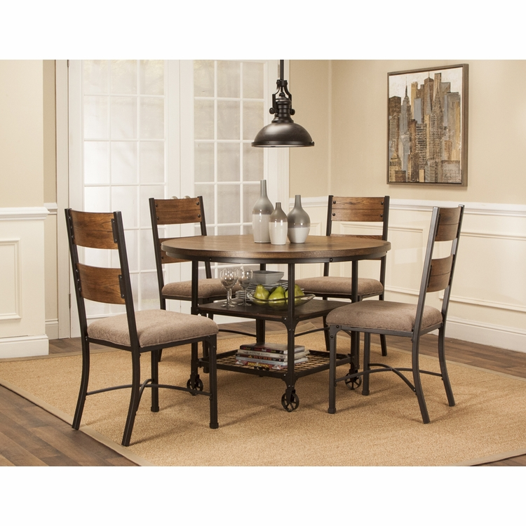 Sunset Trading - 5 Piece Rustic Elm Industrial Dining Table Set - CR-W3075-66-5PC