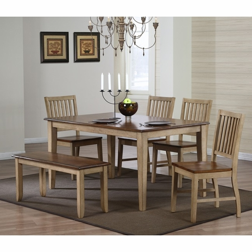 Sunset Trading - 6 Piece Brook Rectangular Dining Set with Bench - DLU-BR3660-C60-BNPW6PC