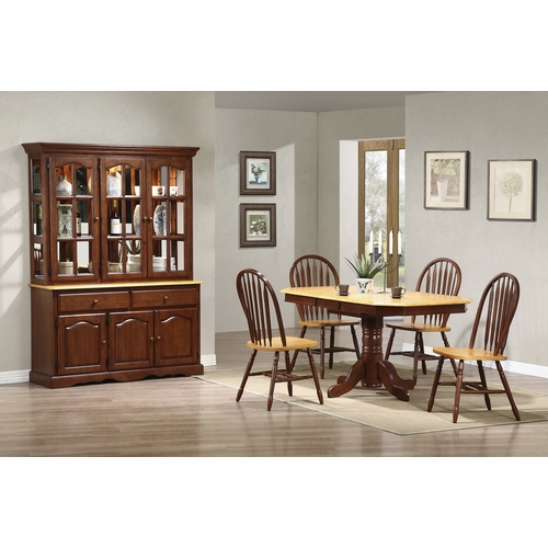 Sunset Trading - 6 Piece Pedestal Extension Dining Set with China Cabinet - DLU-TCP3660-820-22BHNLO6PC