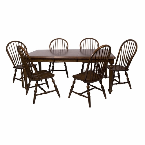 Sunset Trading - 7 Piece Andrews Butterfly Leaf Dining Table Set in Chestnut - DLU-ADW4276-C30-CT7PC