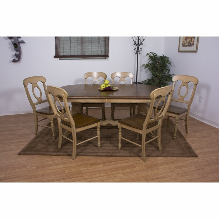 Sunset Trading - 7 Piece Brook Double Pedestal Extension Dining Set with Napoleon Chairs - DLU-BR4296-C50-PW7PC