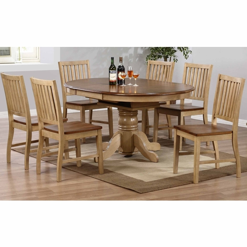 Sunset Trading - 7 Piece Brook Round or Oval Butterfly Leaf Dining Set with Slat Back Chairs  - DLU-BR4260-C60-PW7PC