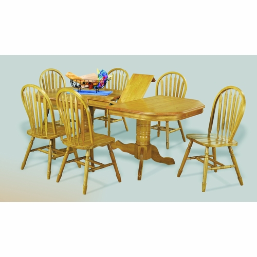 Sunset Trading - 7 Piece Double Pedestal Trestle Butterfly Leaf Dining Set  - DLU-TCP4284-820-LO7PC