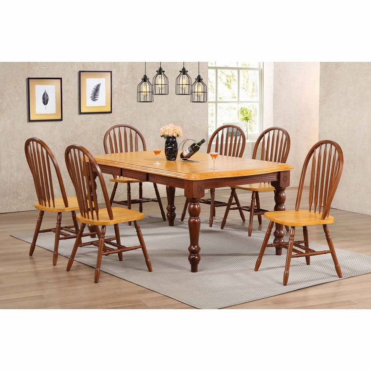Sunset Trading - 7 Piece Extension Dining Set with Arrowback Chairs - DLU-SLT4272-820-NLO7PC