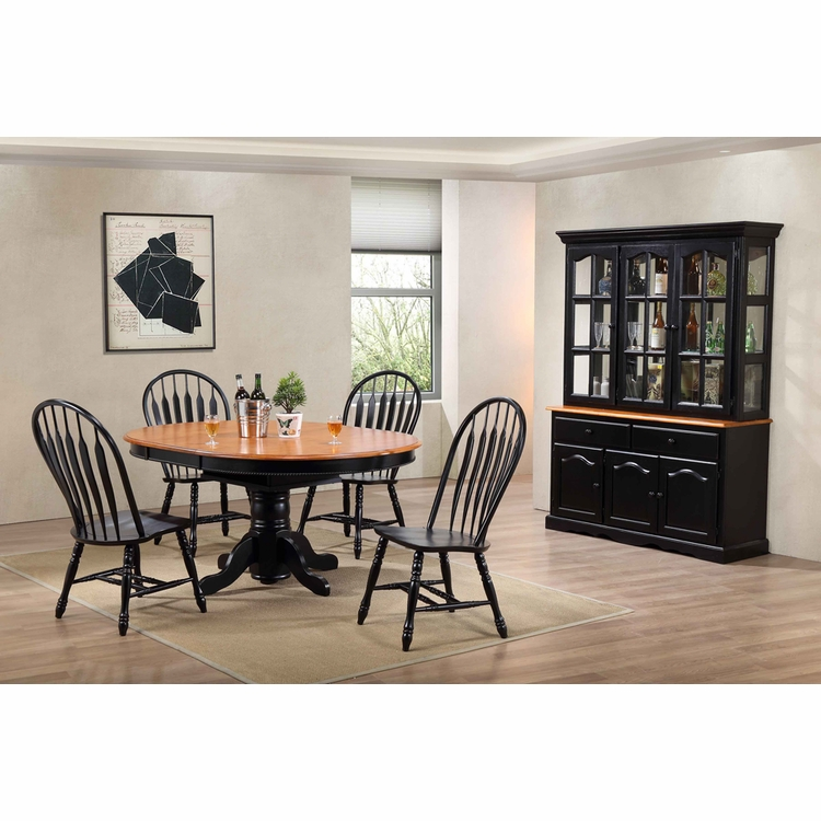 Sunset Trading - 7 Piece Pedestal Dining Table Set with China Cabinet - DLU-TBX4866-4130-22BHAB7PC