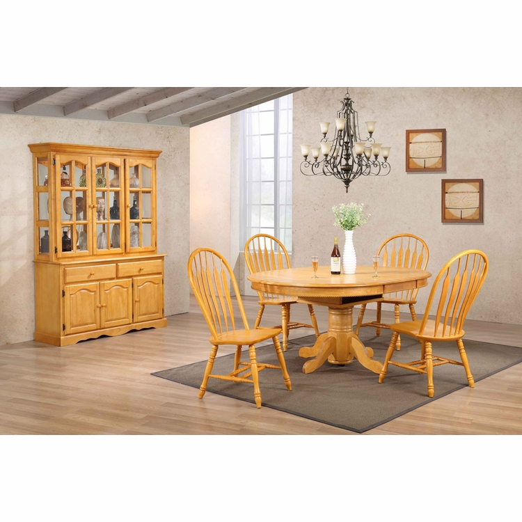 Sunset Trading - 7 Piece Pedestal Dining Table Set with China Cabinet - DLU-TBX4866-4130-22BHLO7PC
