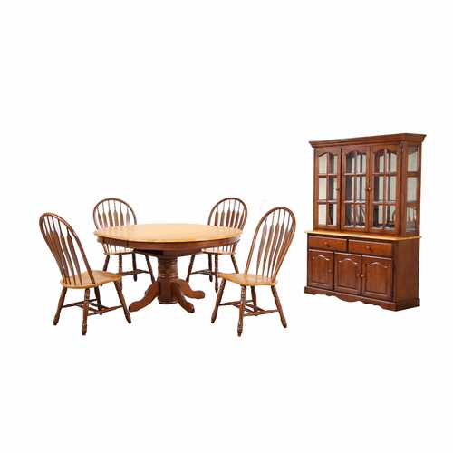 Sunset Trading - 7 Piece Pedestal Dining Table Set with China Cabinet - DLU-TBX4866-4130-22BHNLO7PC