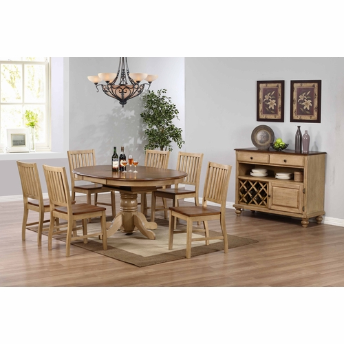 Sunset Trading - 8 Piece Brook Round or Oval Butterfly Leaf Dining Set with Server - DLU-BR4260-C60-SRPW8PC