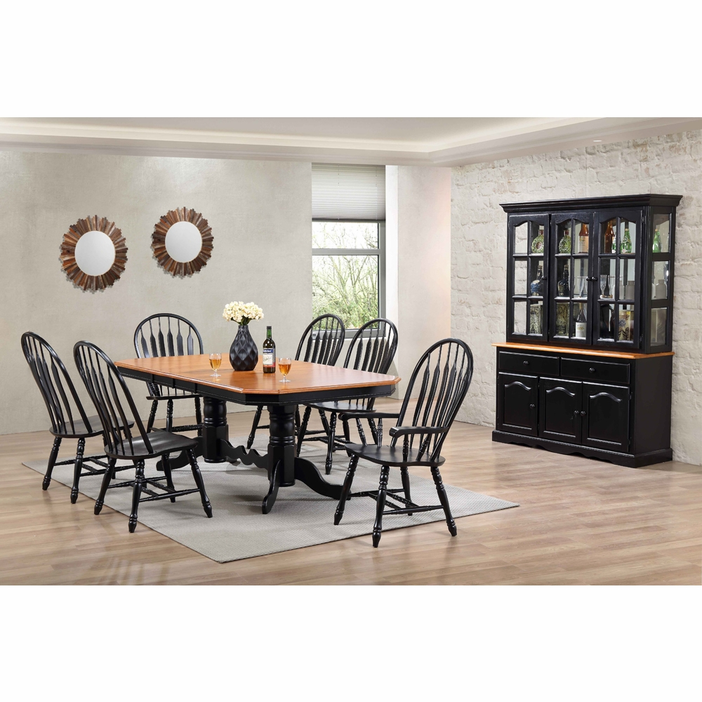Dining Set With China Cabinet: 9 Piece Double Pedestal Trestle Dining