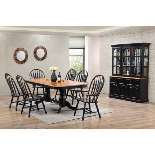 Sunset Trading - 9 Piece Double Pedestal Trestle Dining Set with China Cabinet - DLU-TCP4284-4130A-22BHAB9PC