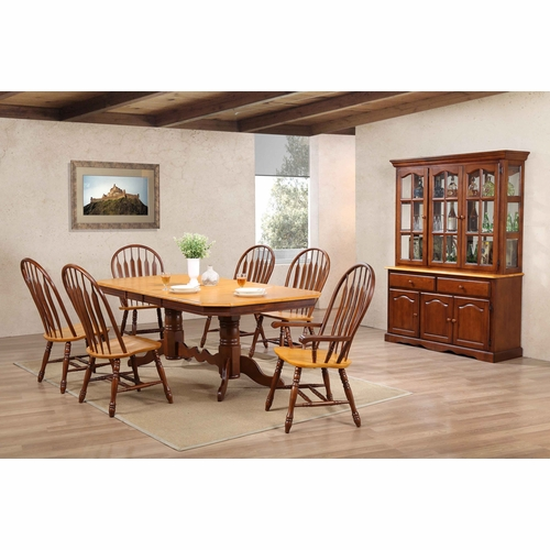 Sunset Trading - 9 Piece Double Pedestal Trestle Dining Set with China Cabinet - DLU-TCP4284-4130A-22BHNLO9PC