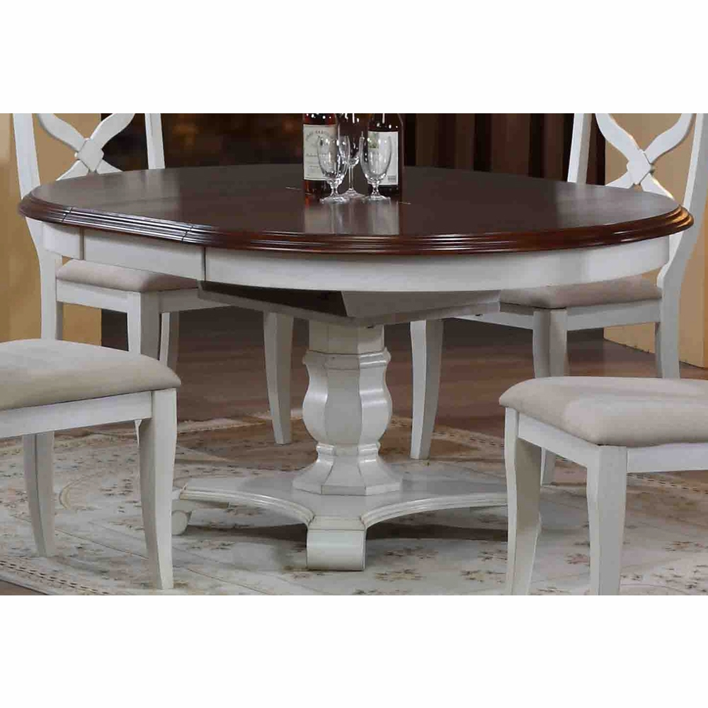 Sunset Trading Andrews Erfly Leaf Dining Table In Antique White With Chestnut Finish Top Dlu Adw4866 Aw