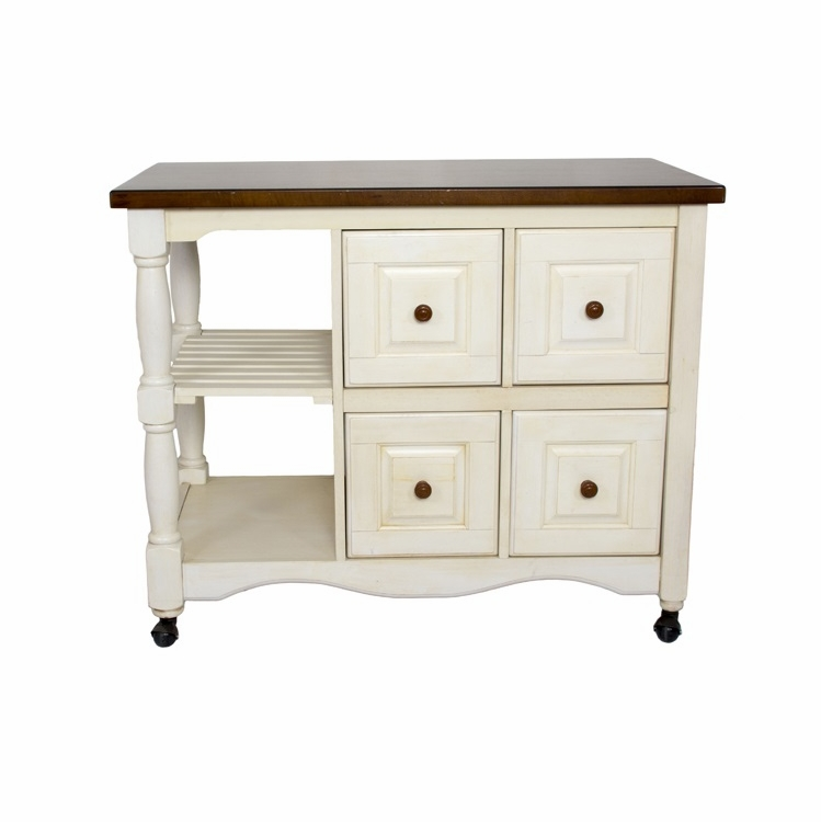 Sunset Trading Andrews Four Drawer Kitchen Cart Dcy Crt 03 Aw