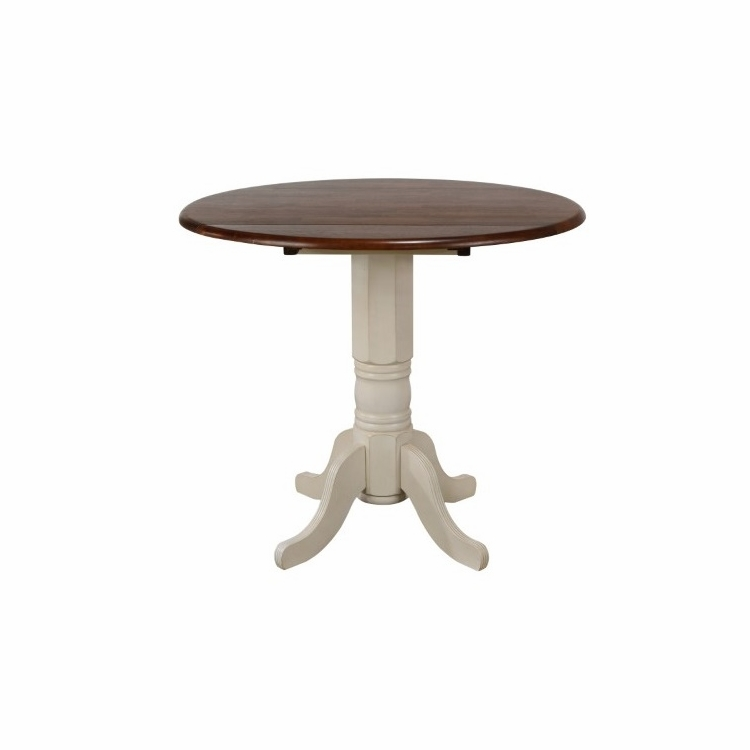 Sunset Trading   Andrews Round Drop Leaf Pub Table In Antique White With  Chestnut Top   DLU ADW4242CB AW