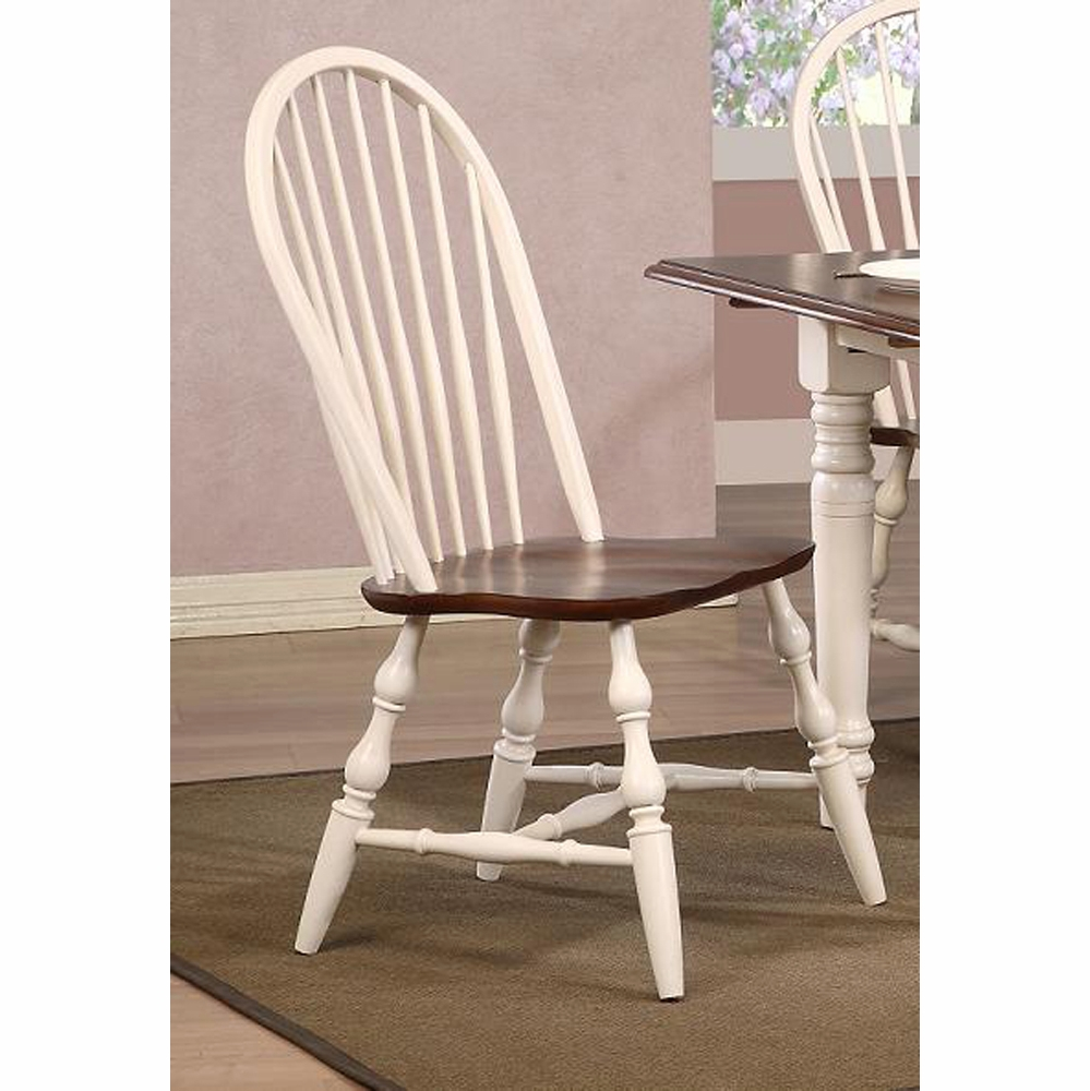 Awesome Sunset Trading Andrews Windsor Spindleback Dining Chair In Antique White With Chestnut Seat Set Of 2 Dlu C30 Aw 2 Pdpeps Interior Chair Design Pdpepsorg