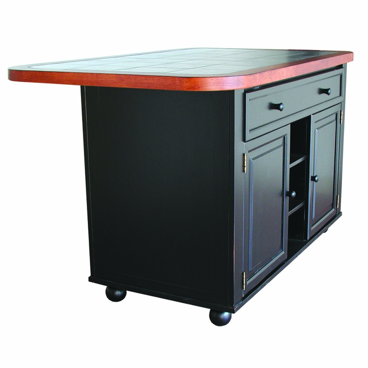 Sunset Trading - Antique Black Kitchen Island with Cherry Trim and Inlaid Granite Top - CY-KITT02-BCH