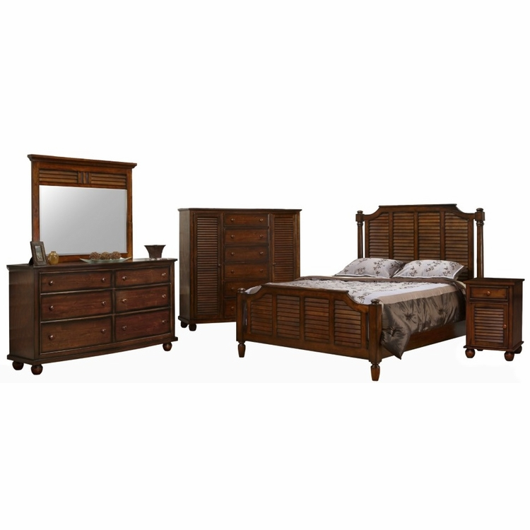 Sunset Trading - Bahama Shutter Wood 5 Piece King Bedroom Set -  CF-1106-0158-K-5PC