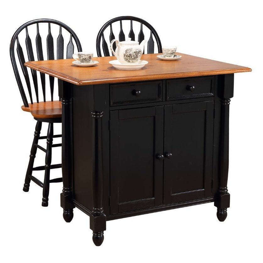 Sunset Trading - Black Cherry Selections Antique Black With Cherry Drop  Leaf Kitchen Island With 2 Swivel Stools Breakfast Bar Drawers Storage - ...