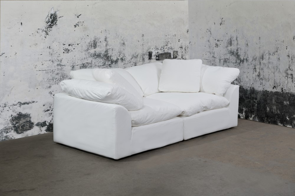 Excellent Sunset Trading Cloud Puff 2 Piece Slipcovered Modular Sectional Small Sofa Loveseat Performance White Su 1458 81 2C Bralicious Painted Fabric Chair Ideas Braliciousco
