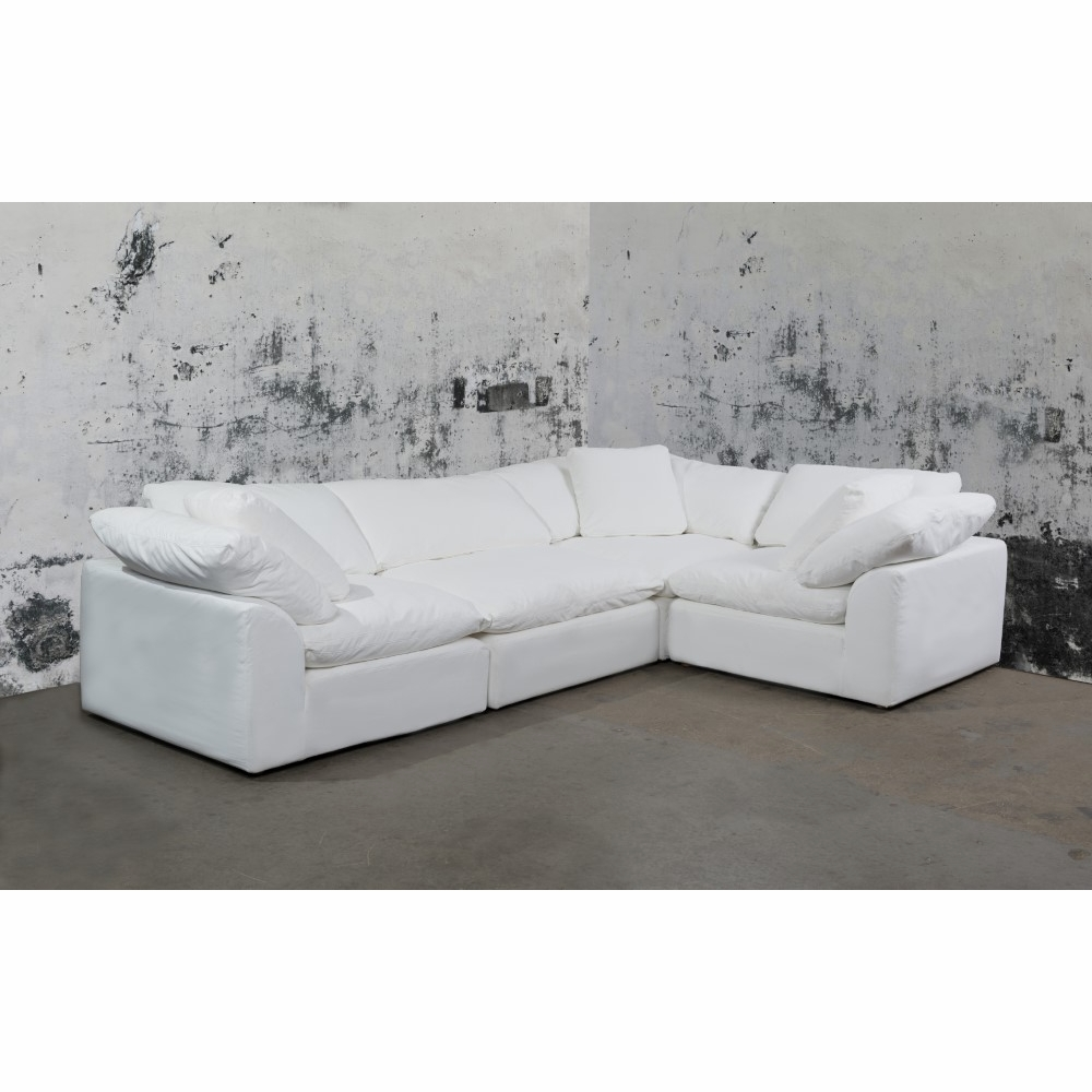 Sunset Trading - Cloud Puff 4 Piece Slipcovered Modular L Shaped Sectional  Sofa Performance White - SU-1458-81-3C-1A