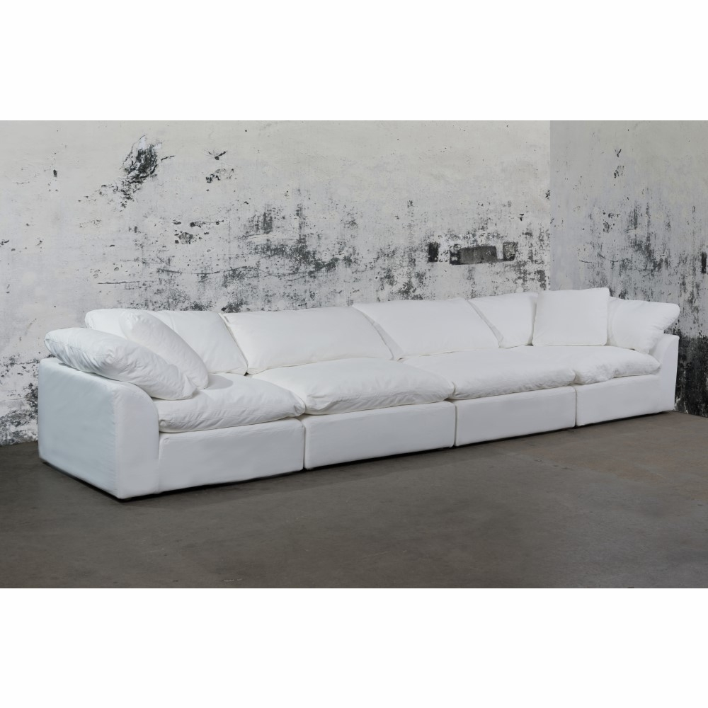 Sunset Trading - Cloud Puff 4 Piece Slipcovered Modular Sectional Sofa  Performance White - SU-1458-81-2C-2A
