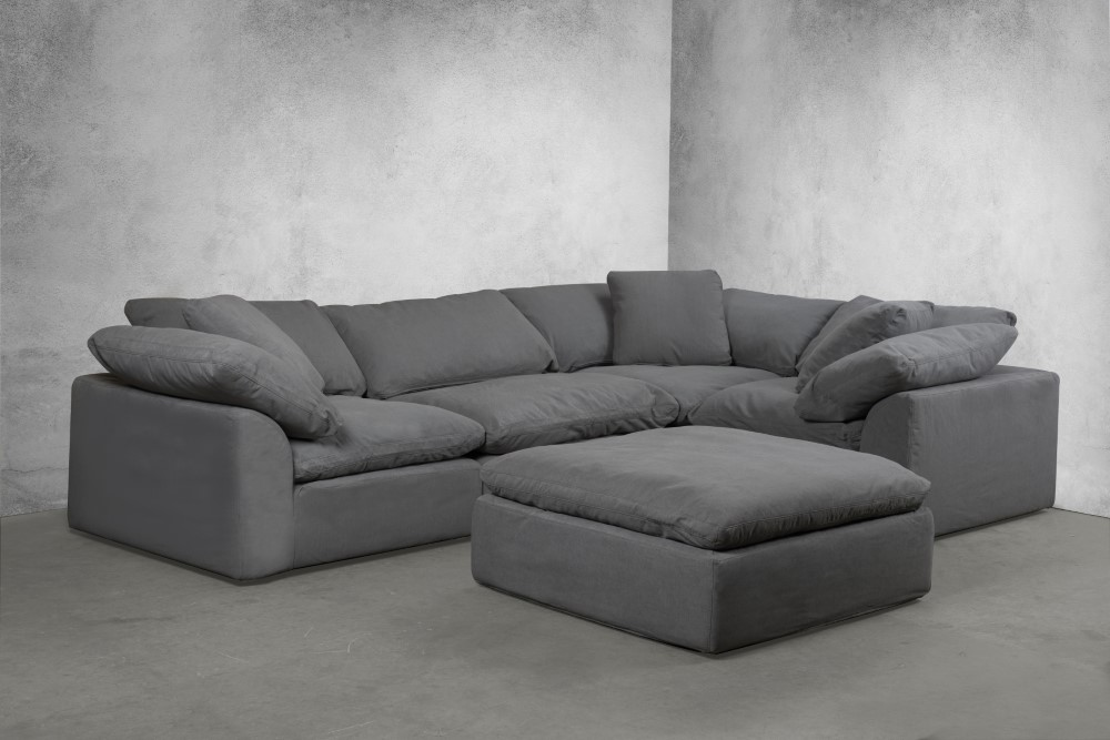 sunset trading cloud puff 5 piece slipcovered modular l shaped sectional sofa with ottoman gray