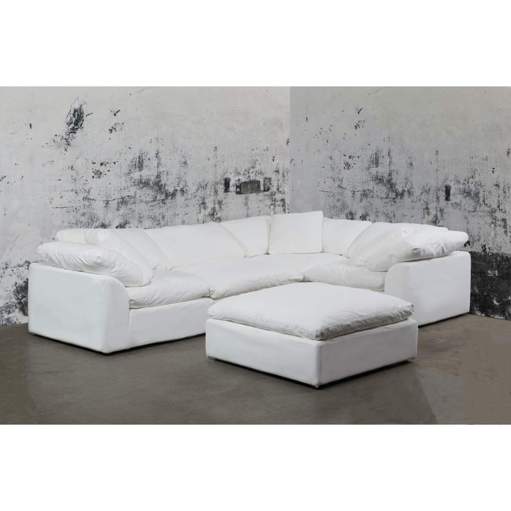 Sunset Trading - Cloud Puff 5 Piece Slipcovered Modular L Shaped Sectional  Sofa With Ottoman Performance White - SU-1458-81-3C-1A-1O