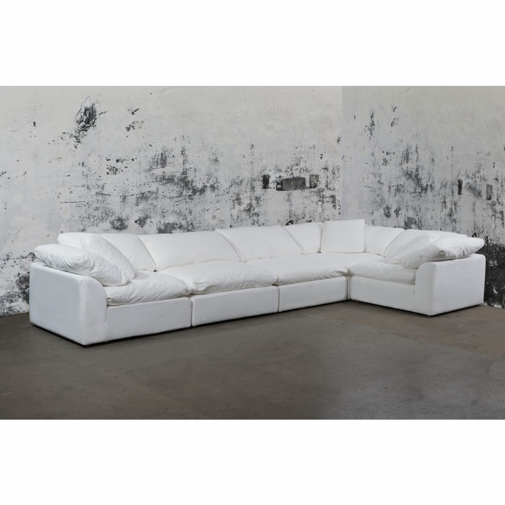 Sunset Trading - Cloud Puff 5 Piece Slipcovered Modular Sectional Sofa  Performance White - SU-1458-81-3C-2A