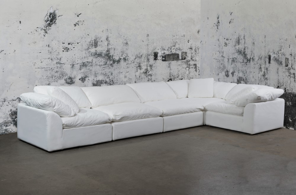 Sunset Trading - Cloud Puff 5 Piece Slipcovered Modular Sectional ...