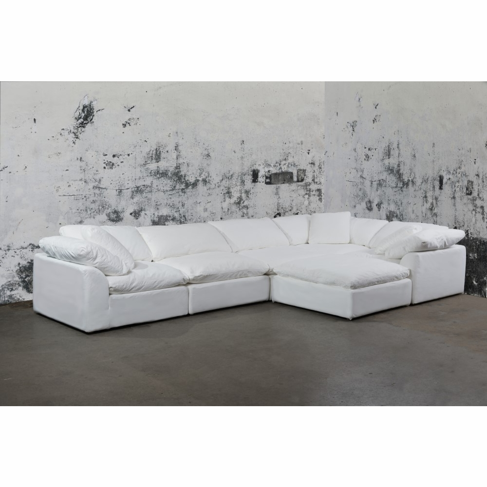 Sunset Trading - Cloud Puff 6 Piece Slipcovered Modular L Shaped Sectional  Sofa With Ottoman Performance White - SU-1458-81-3C-2A-1O